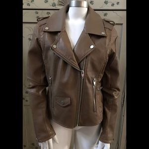 BLANK NYC tan faux leather moto jacket